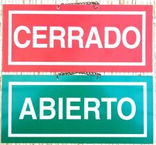 ABIERTO / CERRADO. CARTEL LETRERO CON CADENA 15,5 X 4 CMS. PLACA SEÑAL