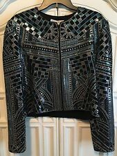 ST JOHN EVENING BLACK Silver Blue Suit Jacket XL L 14 Blazer Sequined Marie Gray