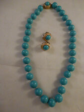 "Beautiful Vintage Ciner Signed Turquoise Glass Bead Necklace  15 "" inches long"