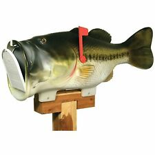 NEW River's Edge Bass Fish Mailbox Post-Office Pole-Mount Fishing Green Mail-Box