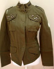 jacket small s green studded new nwt lightweight cotton womens juniors military