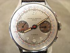 Vintage Baume & Mercier Chronograph Runs Fine Missing Bezel & Crystal For Repair