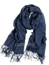 New Men's Fashion Navy Blue 100% Cashmere Pashmina Soft Warm Solid Neck Scarf