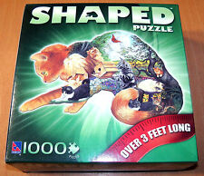 Sure-Lox Cat Shaped Puzzle - 1000 Pieces - 3 Feet Long! - Complete - Tabby - VGC