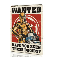 WALL SIGN Star Wars WANTED Have You Seen These Droids Poster Wall Art Decor Rust