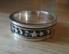 size 11 Sterling Silver 8g Men's Spinning Moon Star Celestial 8mm wide Band Ring