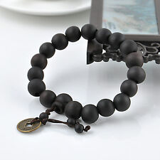 Vintage Men's Wood Buddha Buddhist Prayer Beads Tibet Mala Bangle Wrist Bracelet