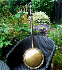 MID VICTORIAN BRASS WARMING PAN- TURNED HANDLE c1850