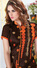 Designer Chanderi Cotton Salwar Kameez Brown Color Unstiched Casual Wear
