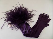 DENTS AMETHYST SATIN LONG EVENING / BURLESQUE GLOVES with OSTRICH FEATHERS BNWT