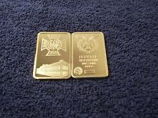 1 Troy Oz 24k Gold Clad Bar Iron Cross Nazi Germany Empire Bank Shipped w/ Case.
