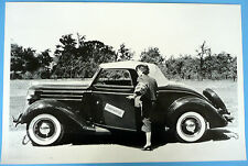 """12 By 18"""" Black & White Picture 1936 Ford Cabriolet With Rumble Seat Top Up"""