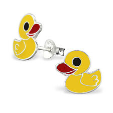 Childrens Girls 925 Sterling Silver Cute Yellow Duck Stud Earrings Pair Boxed