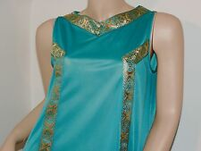 Vtg Henson Kickernick Gown Nightgown RARE MOD 60s Style Teal Blue  Gold EXC S/M