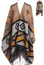 One Sz~Sugar Skull Tribal Wrap~Top~Shawl~Fringe~Boho~Hippie~Ruana~Retro~Punk~GLD