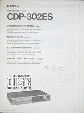 Sony cdp-302es CD ORIGINALE COMPACT DISC PLAYER manuale d'uso/User Manual