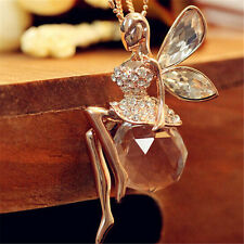 New Women Gold Plated Opal Crystal Angel Wing Sweater Chain Pendant Necklace JNE