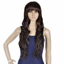 Long Lady Wavy Wig with Bang Brown Curly Party Hair and Hair Net
