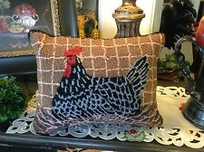 "14x18"" Hooked Chicken Pillow"
