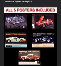 Competition Ford/Cobra (5) Car Poster Set Best Deal Around FREE SHIPPING! USA.