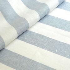 3 Meter Leinenstoff Rissa (gestreift Weiss Rauchblau B 50 cm)