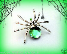 VINTAGE STYLE GREEN CRYSTAL RHINESTONE SPIDER PIN BROOCH~HALLOWEEN PARTY FAVOR