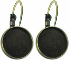 10 x Earring Nickel Free Antq Bronze fit 12mm Cabochon Lever Back Drop Earrings