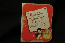 Vintage PENQUIN Birthday Card c. 1940s by: american greetings