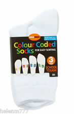 Underworks 2 Pack Shoe Size 5 - 8 White Colour Coded Socks School