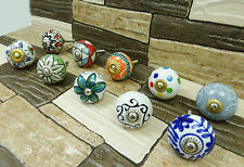 Hand Painted Ceramic Knobs Multicolor Drawer Pull Knob Cabinet Hardware 10 Pcs