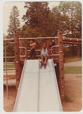 Vintage 80s PHOTO Little Black Girl Coming Down Big Playground Slide
