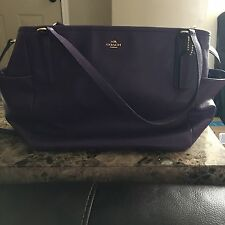 COACH Baby Diaper Bag Tote Purple Leather $495 MSRP w/ Receipt for Authenticity