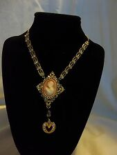 Beautiful Vintage Victorian Cameo Rhinestones Gold Tone Brooch Collage Necklace
