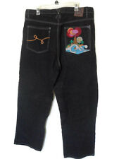 LR GEANS By LRG Size 38 X 33 Black Jeans Hip Hop Colorful Embroidered Volcano