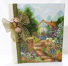 Hand made photo album vintage landscape oil painting fabric cover sign fumiko