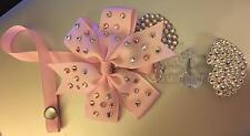 pink  Swarovski Special Crystal Bling Baby dummy clip pacifier pink bow set
