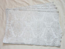 Christmas Holiday White Shiny Silver Ornaments Set of 4 Placemats