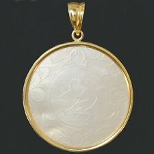 Antique, 14K Gold & Mother of Pearl, 1720-1840 Chinese Gambling Chip, Pendant