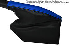 BLACK & BLUE STRIPE LEATHER HANDBRAKE GAITER FITS SUBARU IMPREZA WRX STI 08-15