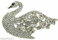 NOVELTY SWAN BROOCH SILVER  DIAMANTE VINTAGE SHOE PIN BRIDAL CAKE DECORATION UK