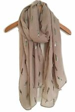METALLIC FEATHER PRINT SCARF WRAP BEIGE WITH BLACK AND GOLD FOIL FERN PRINT