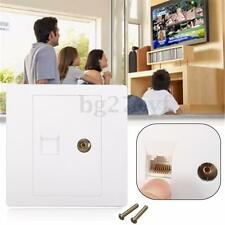 Electric RJ45 Network + TV Aerial Socket Wall Mount Coaxial Outlet Plate Panel