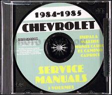 1984 1985 Chevy Shop Manual CD El Camino Caprice Impala Monte Carlo Caballero