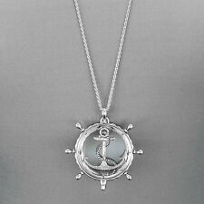 Long Silver Chain Anchor Sea Life Theme Magnifying Glass Pendant Necklace