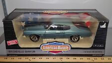 1/18 ERTL AMERICAN MUSCLE 1970 CHEVROLET CHEVELLE SS454 ASTRO BLUE/BLK STRIPE gd