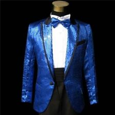 Hot Men's Bling Sequins Tuxedo BowTie Gangnam Suit Jacket Wedding Coat SZ M-XXL