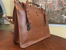 Vintage Saddle Leather Lawyer / Attorney / Scholar Briefcase - Made In America