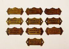 10 Ornate Brass Plaques - Perfect For Clock or Furniture Restorer - Good Prop