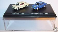 COFFRET ATLAS DUO 2 METAL UH RENAULT R8 8 1962 CREME GORDINI 1966 HO 1/87