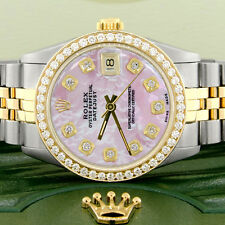 Womens Rolex Datejust 2-Tone Gold/Steel 31mm Watch Pink MOP Diamond Dial & Bezel